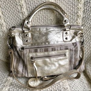 Marmi Metallic Leather Snake Print Crossbody Bag
